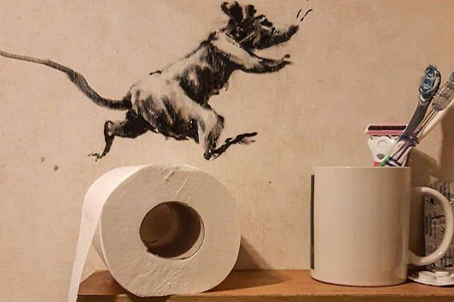 Banksy has turned his bathroom into an artwork during self-isolation