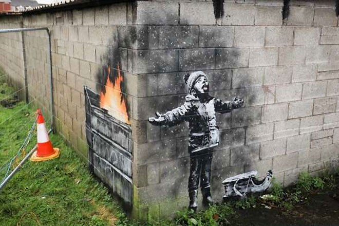 Unexpected Banksy on garage wall sold for a six figure sum