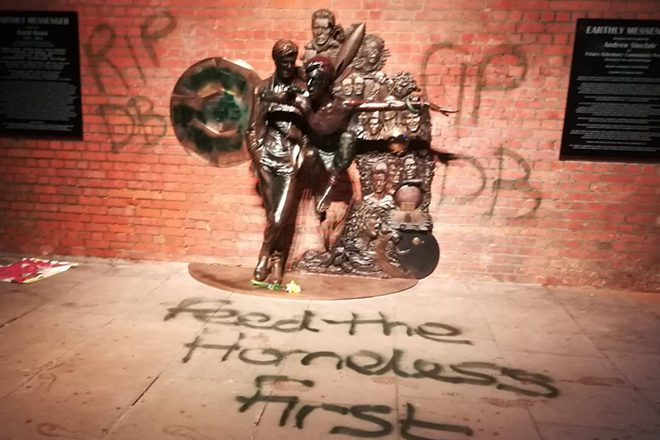 David Bowie statue vandalized less than 48 hours after its unveiling