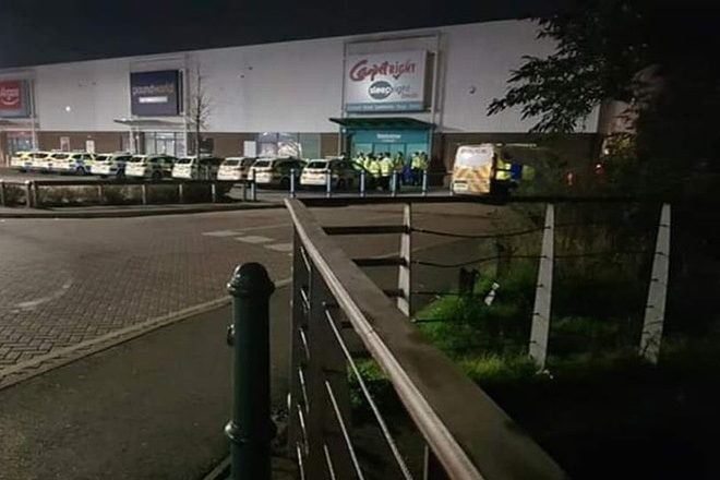 Police shut down a rave at a disused Carpetright store