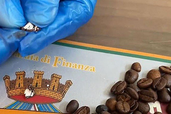 Italian police found a shipment of coffee beans stuffed with cocaine