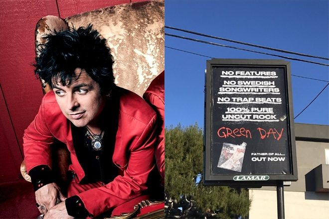 Green Day take aim at 'trap beats' on cocaine emblazoned billboard