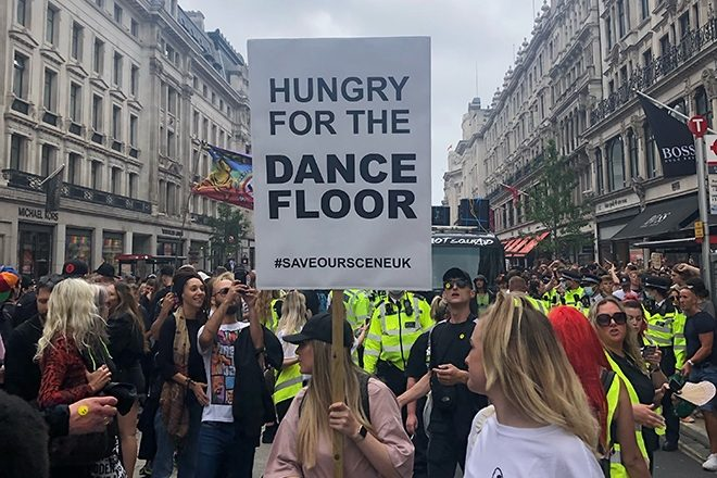 Thousands of people march through London for 'Save Our Scene' protest