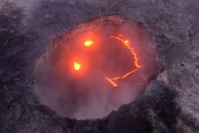 A volcano erupted into the acid house smiley
