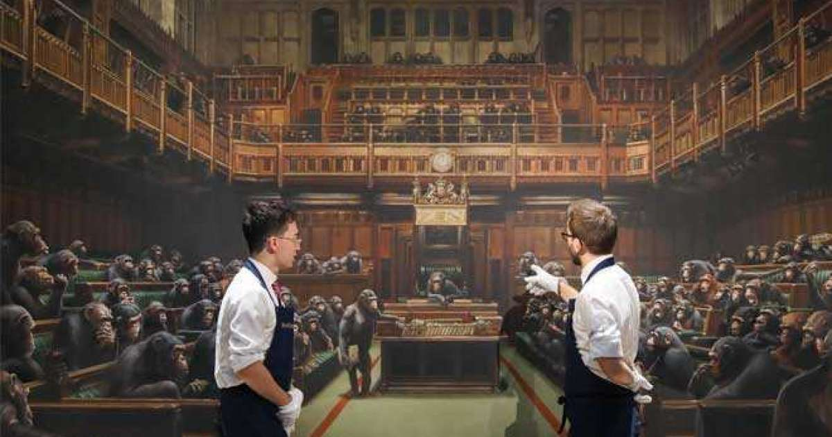 Banksy's 'Devolved Parliament' painting has sold for £9.9 million