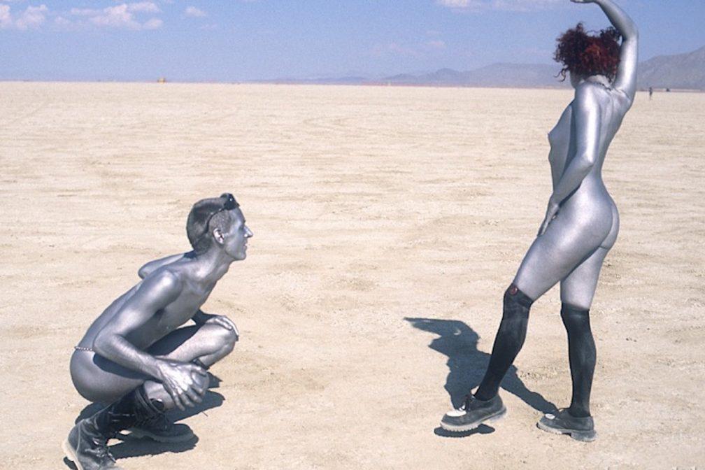 Burning girl man body paint 14