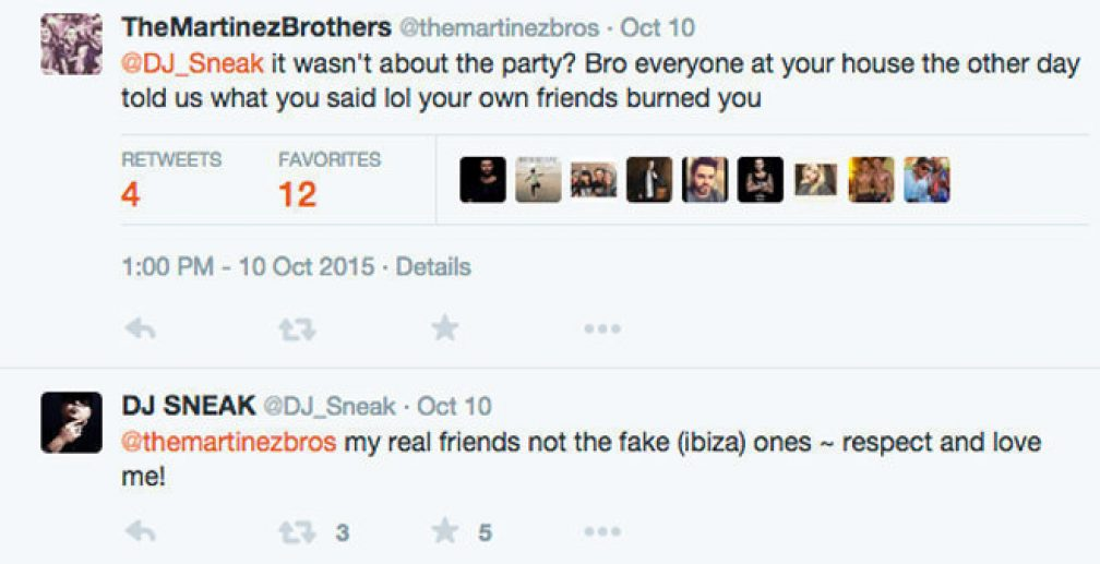 The Martinez Brothers and DJ Sneak exchange punches on Twitter