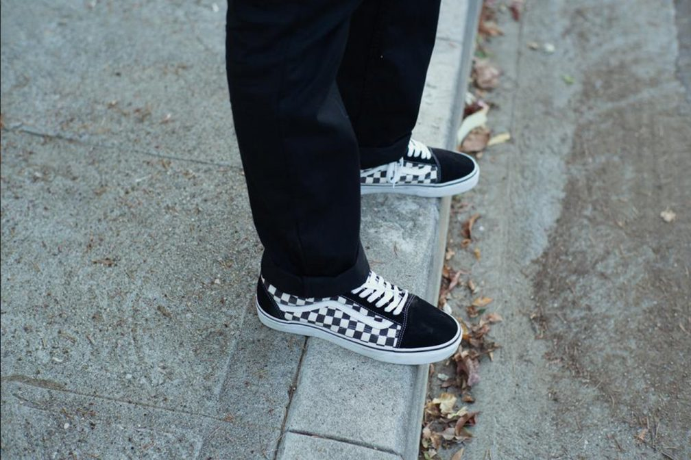 vans slip on checkerboard on feet