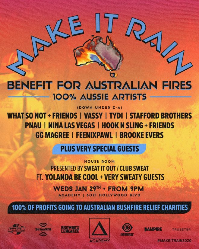 Make It Rain event in LA will raise proceeds for Australian bushfire