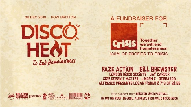 Disco Heat will host a Crisis Fundraiser in Brixton