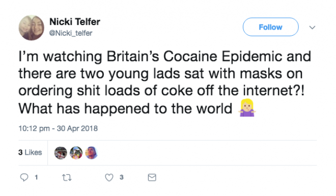 Twitter reacted hilariously to 'Britain's Cocaine Epidemic