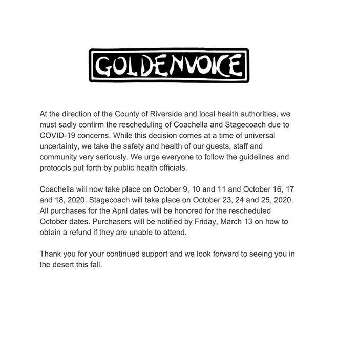 Coachella confirms postponement of festival due to coronavirus