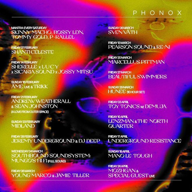 Phonox London drops its upcoming line-ups