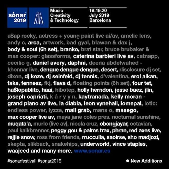 Sónar expands its 2019 line-up with 40 new acts