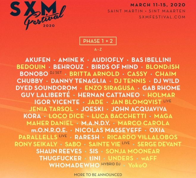 Phase two line-up announced for the Caribbean's SXM Festival