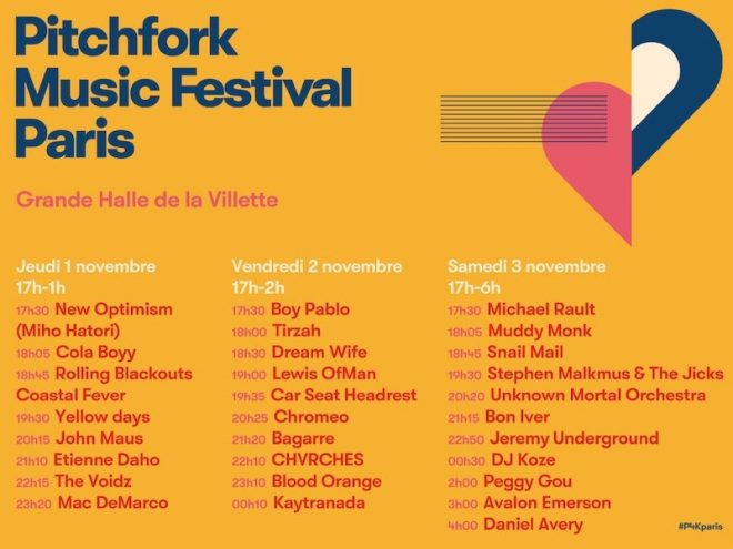 The stage times are in for Pitchfork Music Festival Paris 2018